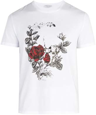 Alexander McQueen Rose-printed cotton-jersey T-shirt