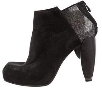 CNC Costume National Stingray Suede Ankle Booties