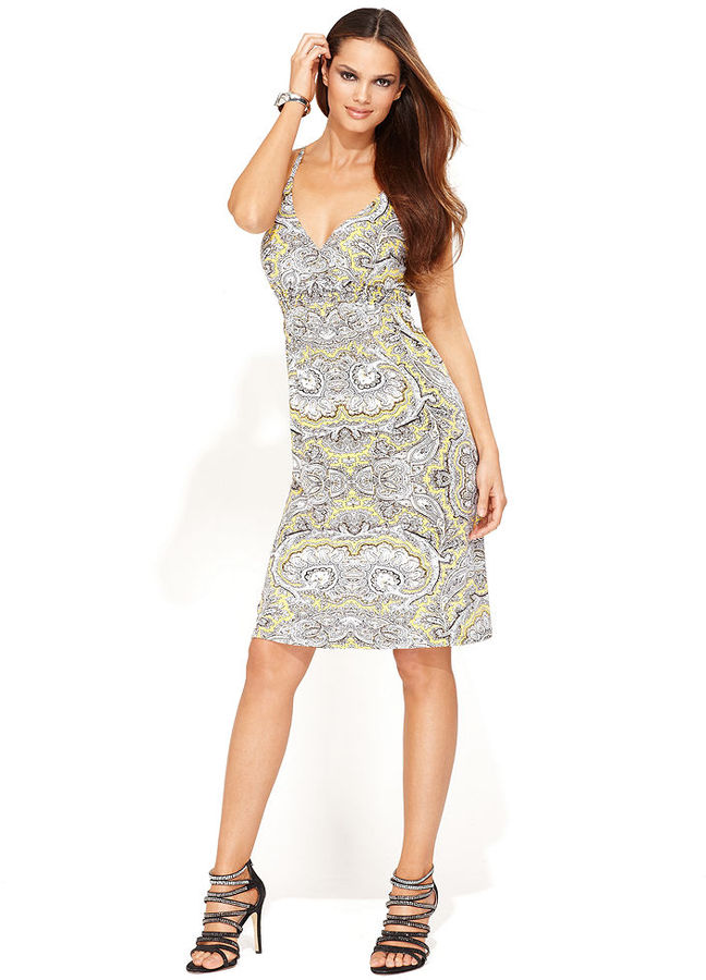 INC International Concepts Dress, Spaghetti-Strap Ring-Back Printed