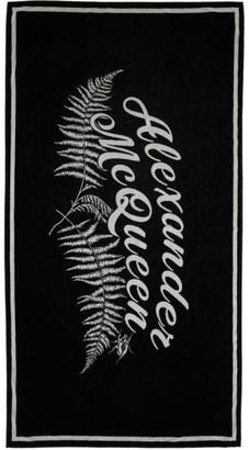 Alexander McQueen (アレキサンダー マックイーン) - Alexander Mcqueen Alexander McQueen ブラック and ホワイト Fern ロゴ タオル