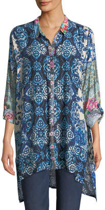 Johnny Was Patchwork Challis Button-Front Tunic