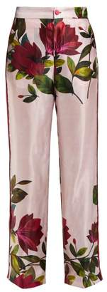 F.R.S For Restless Sleepers F.R.S – For Restless Sleepers Carite Magnolia Print Satin Wide Leg Trousers - Womens - Pink Print