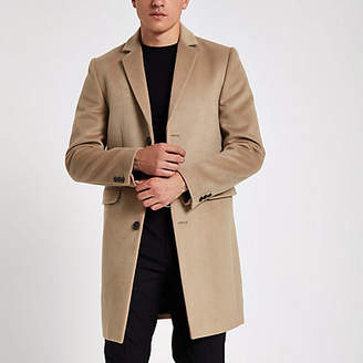River Island Camel button up overcoat