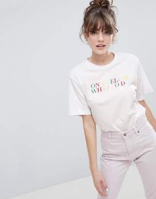 Monki slogan oversized crew neck t-shirt in white