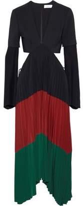 A.L.C. Rio Cutout Color-Block Stretch-Crepe Midi Dress