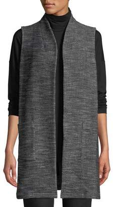Eileen Fisher Organic Cotton Tweed Knit Long Vest