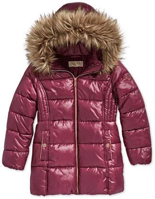 Michael Kors Toddler Girls Hooded Puffer Stadium Coat with Faux-Fur Trim