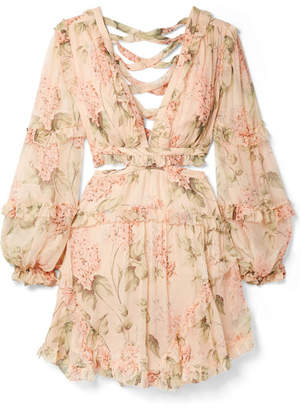 Zimmermann Prima Cutout Ruffled Floral-print Silk-georgette Mini Dress - Peach