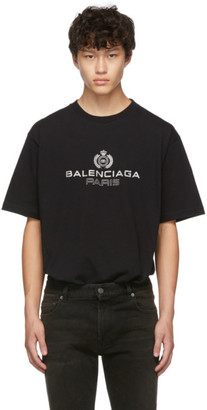 Balenciaga Black Paris Laurel Regular Fit T-Shirt