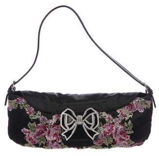 Valentino Bead Embellished Satin Shoulder Bag