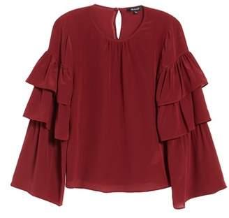 Madewell Ruffle Sleeve Silk Top