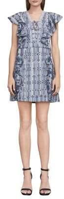 BCBGMAXAZRIA Eyelet Chambray Mini Dress
