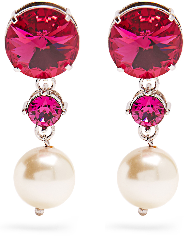 Miu MiuMIU MIU Faux-pearl and crystal clip-on earrings
