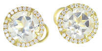 Frederic Sage White Topaz & Diamond Halo Earrings in 18K Gold