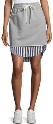 Alexander Wang Terry Stripe Combo Pull-On Skirt