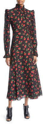 Michael Kors Ruffled Turtleneck Long-Sleeve Rose-Print Georgette Long Dress