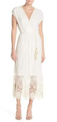 Fraiche by J Embroidered Mesh & Cotton Midi Dress