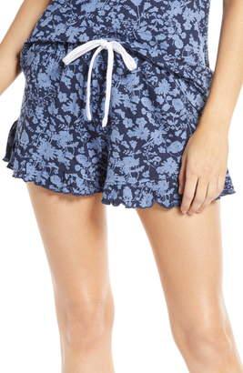 Splendid Floral Print Ruffle Hem Pajama Shorts