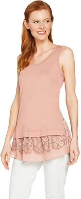 Logo By Lori Goldstein LOGO by Lori Goldstein Solid Tank with Two-Tone Lace & Ruffle Hem
