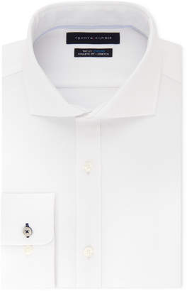 Tommy Hilfiger Men's Fitted Th Flex Cooling Stretch Performance White Spread Collar Dress Shirt