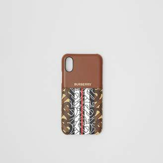 Burberry Leather and Monogram Stripe E-canvas iPhone X/XS Case