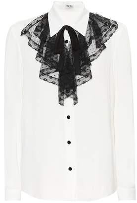 Miu Miu Lace-trimmed silk shirt