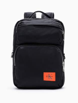 Calvin Klein monogram logo nylon twill square backpack