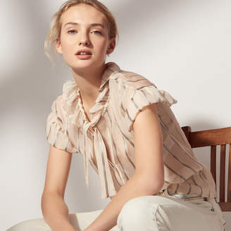 Sandro Silk top with long ruffled sleeves