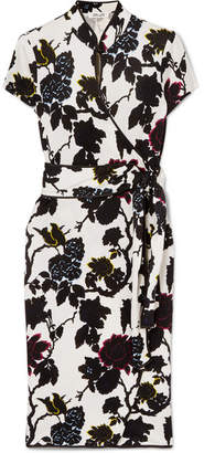 Diane von Furstenberg Nicole Floral-print Silk-crepe Wrap Dress - Ivory