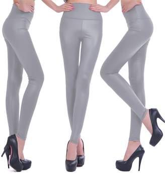 Celine lin Women's PU Leather High Waist Leggings Stretch Pants, S