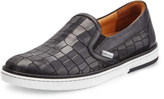 Jimmy Choo Grove Men's Shiny-Stripe Leather Skate Sneaker, Black