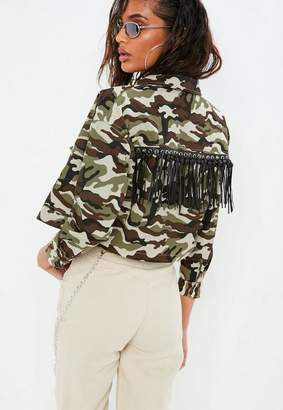 Missguided Petite Brown Camo Fringe Detail Cropped Jacket