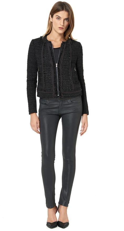 Rebecca Taylor Long Sleeve Tweed Metallic Jacket