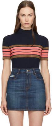ALEXACHUNG Navy Striped Band T-Shirt