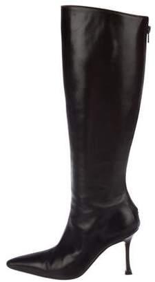 Manolo Blahnik Leather High-Knee Boots