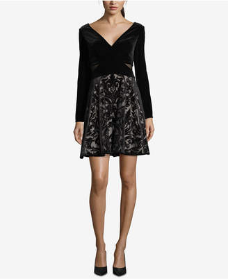 Xscape Evenings Velvet Burnout Fit & Flare Dress