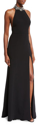 Notte by Marchesa Sleeveless Embellished Ponte Gown, Black $845 thestylecure.com
