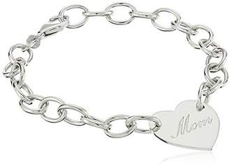 Sterling Mom Heart Bracelet