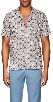 Hartford Men's Animal-Print Cotton Poplin Shirt