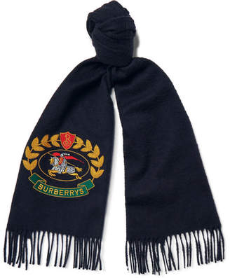 Burberry Fringed Embroidered Cashmere Scarf