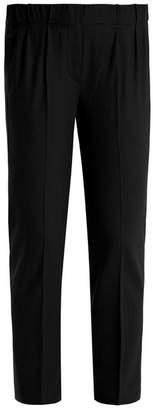 Brunello Cucinelli - Slim Fit Lightweight Wool Blend Trousers - Womens - Dark Grey