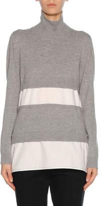 Marni Knit Combo Turtleneck Sweater, Gray