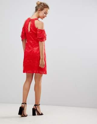 Little Mistress Cold Shoulder Lace Shift Dress