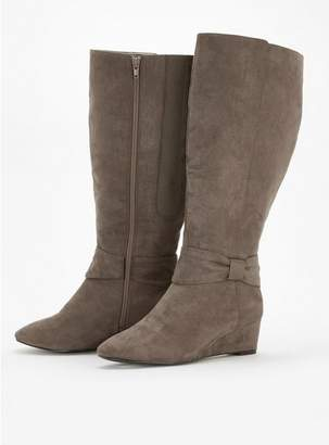 Evans Extra Wide Fit Grey Bow Detail Long Boots