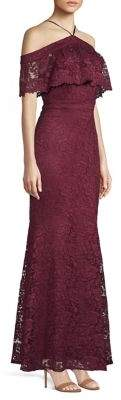 Laundry by Shelli Segal Popover Lace Halter Gown