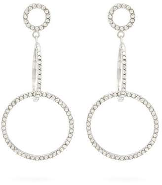 Isabel Marant Crystal Embellished Hoop Drop Earrings - Womens - Silver