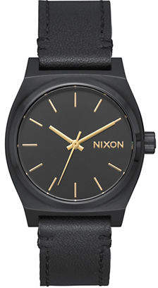 Nixon Time Teller Black Leather Watch