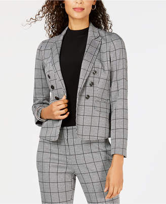 Kasper Open-Front Double-Breasted Blazer