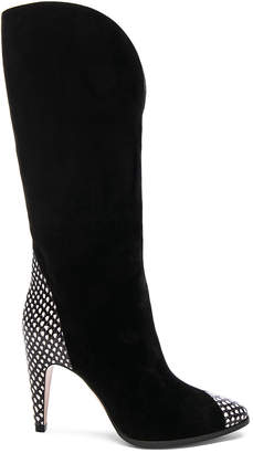 Givenchy Snakeskin Trim Suede Boots