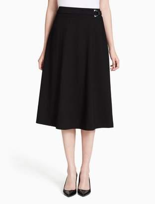 Calvin Klein long luxe buckle skirt